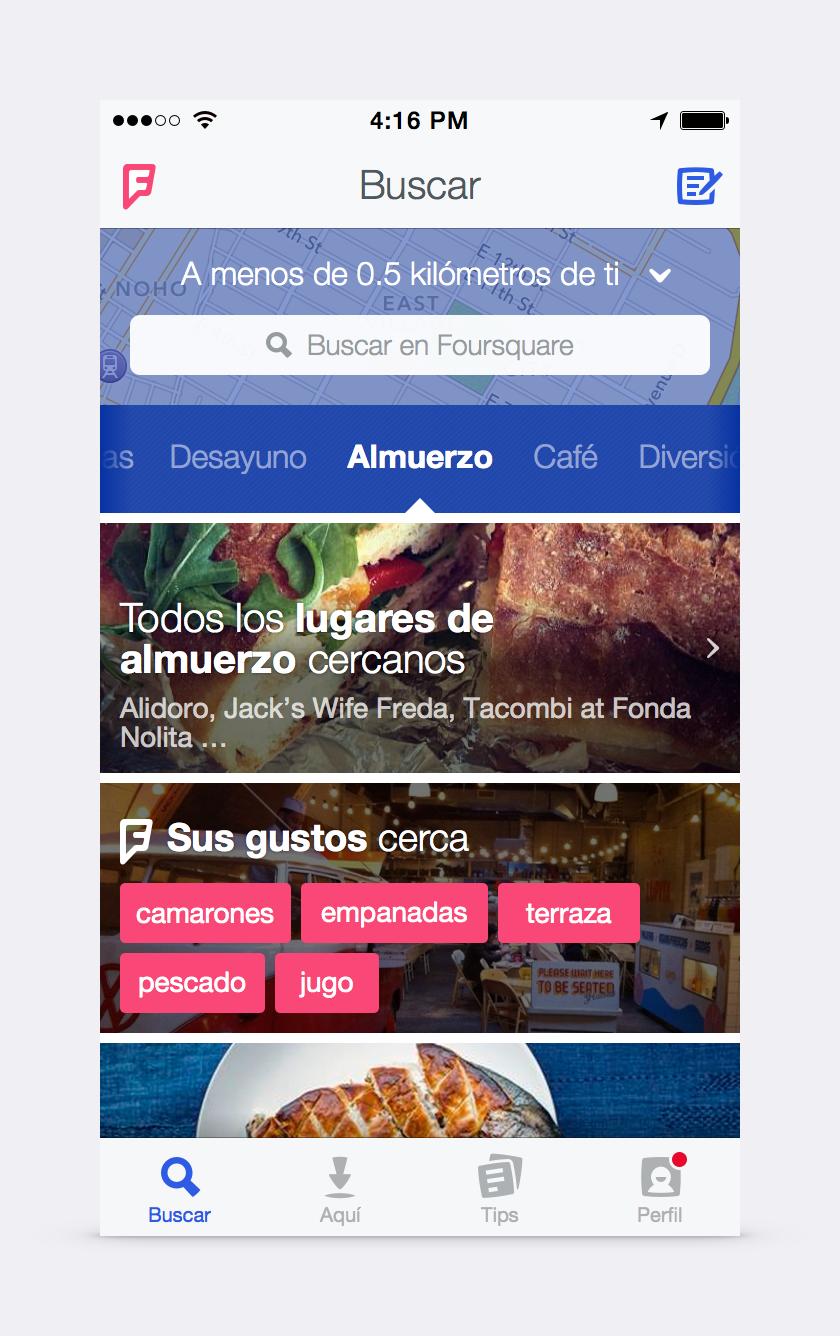 Esta es la pantalla de inicio que verán cuando abran el nuevo Foursquare.